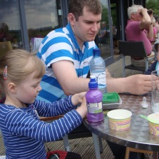 2013_06_17 1251 Craig, Ellie and Ben at Tower Knowe Cafe